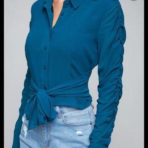 Bebe Wrap Blouse Top Shirred Sleeves NWT